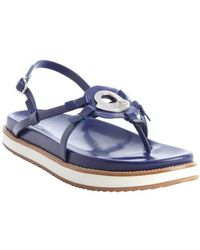 Moncler Blue Leather Strappy Silver Plaque Sandals - Lyst