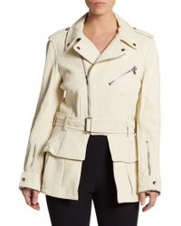 Alexander McQueen Grained Leather Ruffle Jacket - Lyst