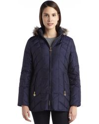 Anne Klein Navy Quilted Down Filled Faux Fur Hooded Zip Front Jacket - Lyst