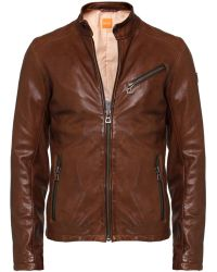 BOSS Orange Leather Julino Jacket - Lyst