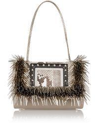Jimmy Choo Alba Embellished Elaphe-Trimmed Leather Shoulder Bag - Lyst