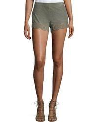 Lamarque - Anjanette Laser-Cut Suede Shorts - Lyst