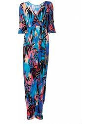 Matthew Williamson Sunset Vine Jersey Embroidered Wrap Gown - Lyst