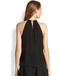 Diane von Furstenberg Chain-Collar Silk Halter Top - Lyst