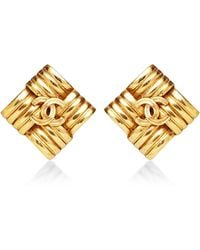 What Goes Around Comes Around Chanel Gold Square Weave Earrings - Lyst