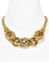 "T Tahari - On The Edge Gold Chain Link Multi-stone Necklace, 17"" - Lyst"