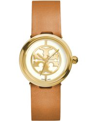 Tory Burch Reva Goldtone Stainless Steel & Leather Strap Watch/Brown - Lyst