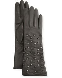 Portolano Leather Pyramid Studded Gloves gray - Lyst