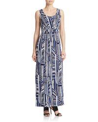 Spense - Geo Print Belted Maxi Dress - Lyst