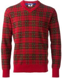 Junya Watanabe Tartan Vneck Sweater - Lyst