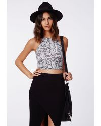 Missguided Suellah Snake Print Crop Top - Lyst