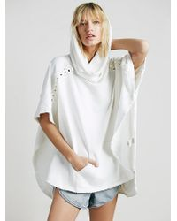 Free People White Barcelona Poncho - Lyst