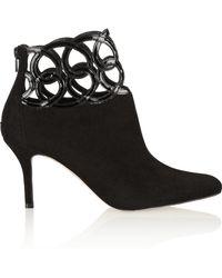 Oscar de la Renta Primavera Patent-leather and Suede Ankle Boots - Lyst