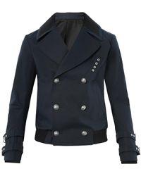Balmain Militarybutton Cotton Pea Coat - Lyst