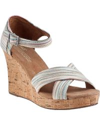 TOMS Strappy Wedge Sandal Multi Stripe Fabric - Lyst