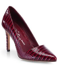 Alice + Olivia Dina Croc-Embossed Patent Leather Point Toe Pumps - Lyst