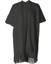 Max Studio - Short Sleeve Fringe Hem Cardigan - Lyst