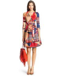 Diane von Furstenberg Dvf Jewel Silk Combo Pleated Wrap Dress - Lyst