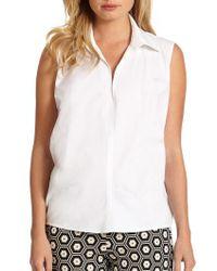 Josie Natori Sleeveless Collared Shirt - Lyst