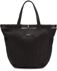 Furla Leather Accented Straw Shoulder Bag - Lyst