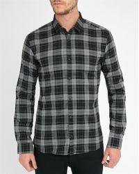 HUGO | Grey Dress Check Slim-fit Shirt | Lyst