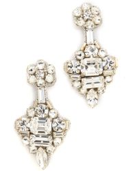 Deepa Gurnani Crystal Statement Earrings Silver - Lyst