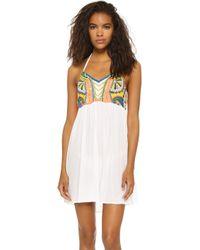 Pia Pauro - Embroidered Halter Beach Dress - Lyst