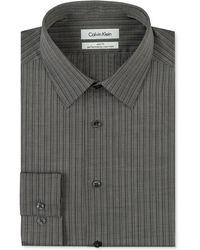 Calvin Klein Steel Non-iron Slim-fit Dusk Stripe Performance Dress Shirt - Lyst