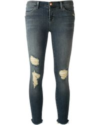 J Brand Cropped Destroyed Jeans - Lyst