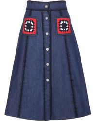 Miu Miu Embellished Denim Skirt - Lyst