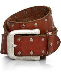 John Varvatos Tan Studded Leather Belt - Lyst