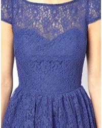 Asos Lace Short Sleeved Skater Dress - Lyst