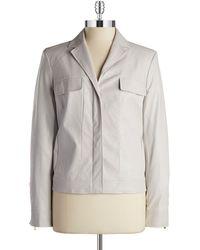 Jones New York Faux Leather Jacket beige - Lyst