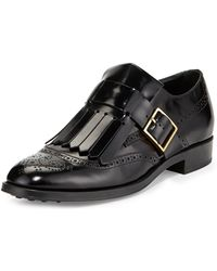 Tod's Leather Monkstrap Loafer with Fringe - Lyst