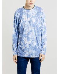Topman Blue Printed Wash Oversized Longsleeve T-shirt - Lyst