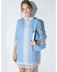 Pixie Market Powder Blue Collar Dress blue - Lyst