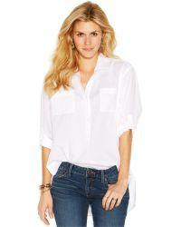Lucky Brand Jeans Lucky Brand Long-Sleeve Point-Collar Boyfriend Blouse - Lyst