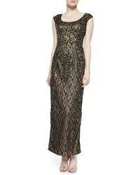 Sue Wong Capsleeve Beaded Metallic Lace Gown - Lyst