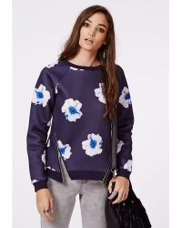 Missguided Louisiana Zip Detail Floral Sweater Navy - Lyst