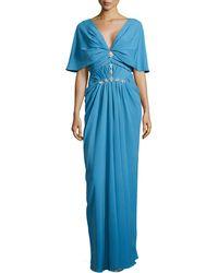 J. Mendel V-Neck Cowl-Sleeve Gown - Lyst