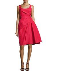 Carolina Herrera Sleeveless Dress With Pickup Skirt & Bow - Lyst