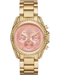 Michael Kors Women'S Chronograph Blair Gold-Tone Stainless Steel Bracelet Watch 39Mm Mk6218 - Lyst