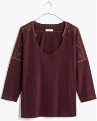 Madewell Embroidered V-Neck Top - Lyst