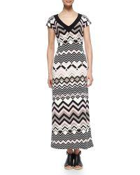 Melissa Masse Zigzag V-Neck Maxi Dress - Lyst