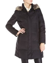 Anne Klein - Black Faux Fur Trim Hooded Down Coat - Lyst