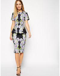 Asos Premium Floral Peplum Dress - Lyst
