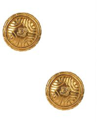Chanel Pre-Owned Round Cc Earring - Lyst