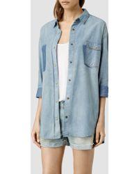 AllSaints Boys Shirt/Indigo Patch blue - Lyst