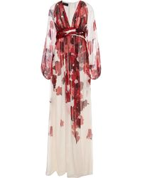 Giambattista Valli Floral Watercolor Printed Silk Gown - Lyst