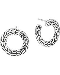 John Hardy Silver Round Carved Chain Earrings - Lyst